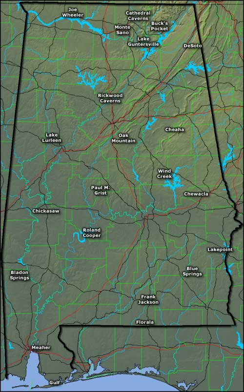 Locations of the State Parks of Alabama