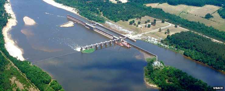 Coffeeville Lock and Dam on the Tombigbee River near Choctaw National Wildlife Refuge