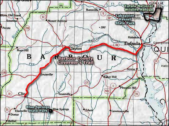 Barbour County Governors Trail area map