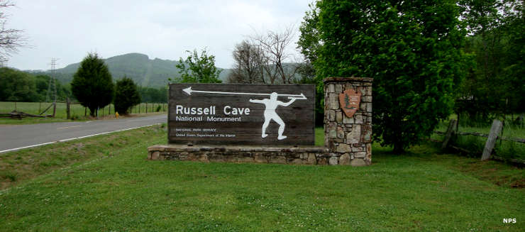 Entry sign at Russell Cave National Monument