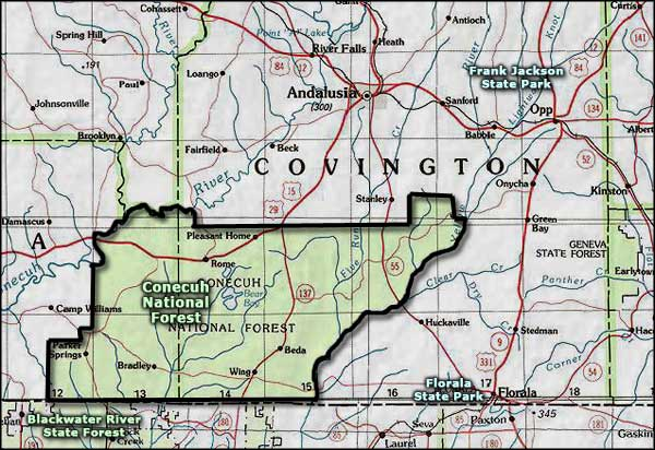 Conecuh National Forest area map