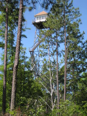 Fire lookout tower near Open Pond