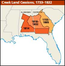 Map showing successive cessions of land by the Creek tribe