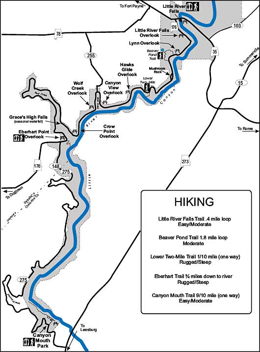 Hiking trails map of Little River Canyon National Preserve