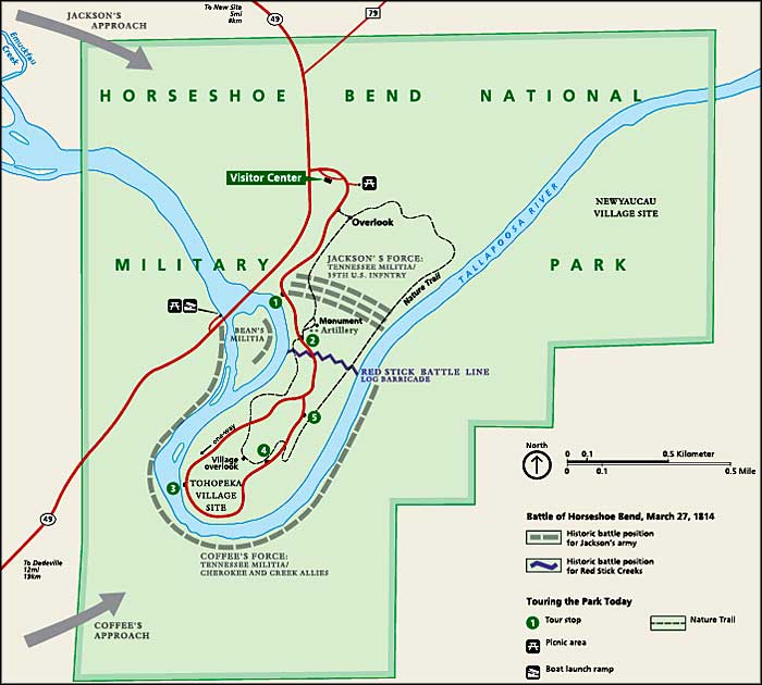 Map of Horseshoe Bend National Military Park