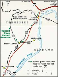 Map showing the location of Russell Cave National Monument