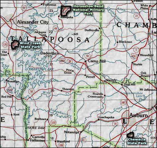Chewacla State Park area map
