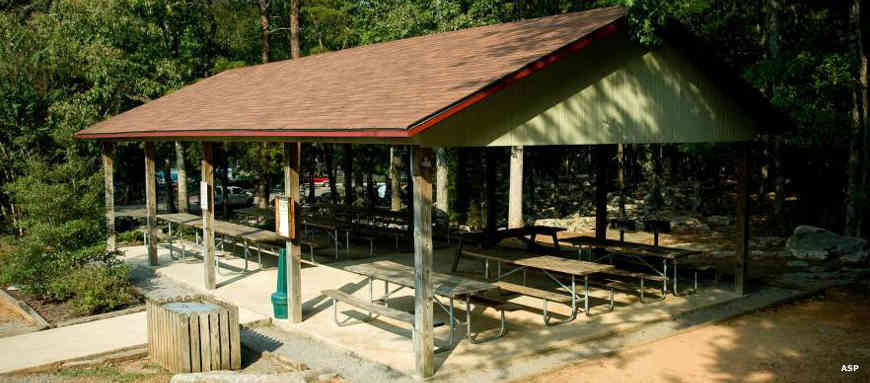 One of the picnic pavilions at Rickwood Caverns State Park