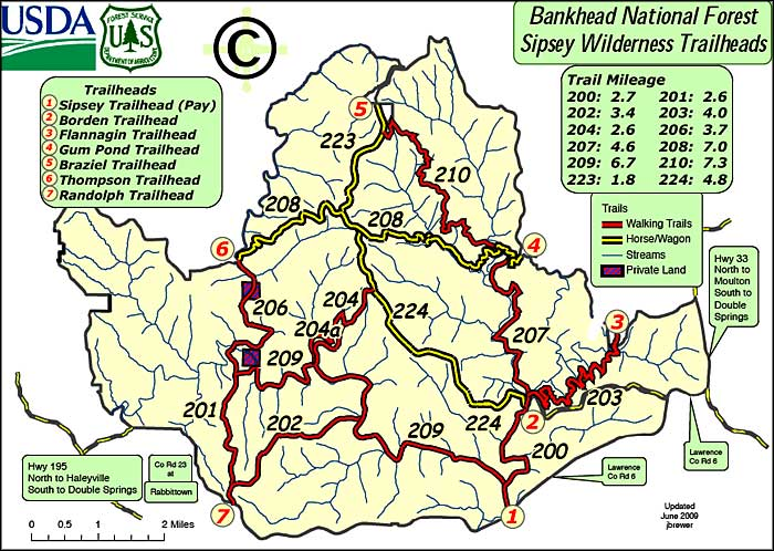 Map of trails in the Sipsey Wilderness