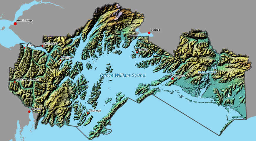 Area map of Chugach National Forest