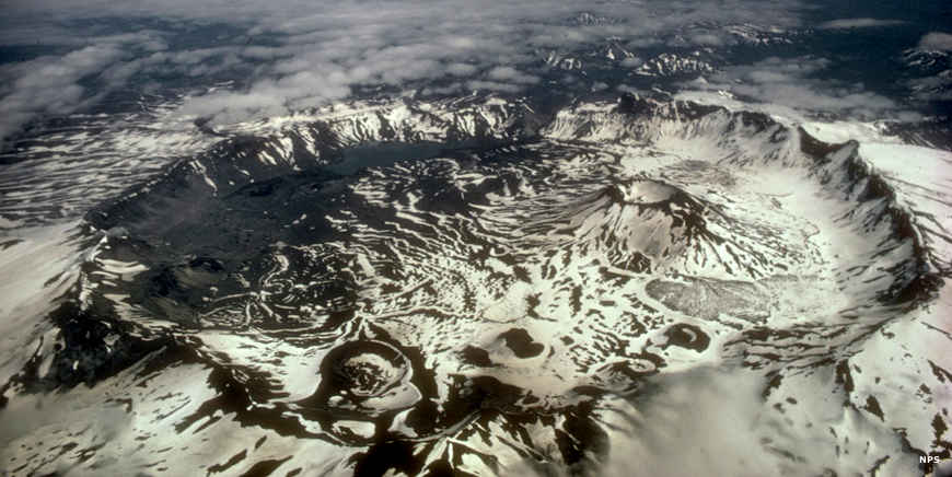 Aerial view of the Aniakchak Caldera