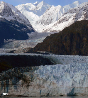 Glaciers beneath the Fairweather Range
