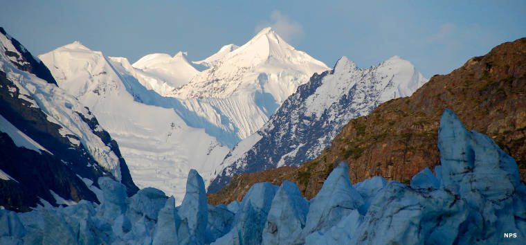 The Fairweather Range rises above the coastal glaciers