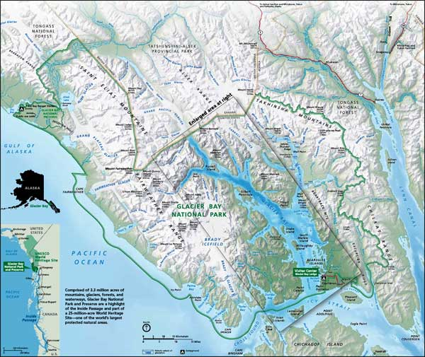Map of Glacier Bay National Park and Preserve