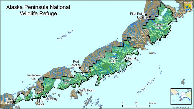 Map of the Alaska Peninsula National Wildlife Refuge
