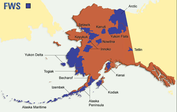 Map of the National Wildlife Refuges in Alaska
