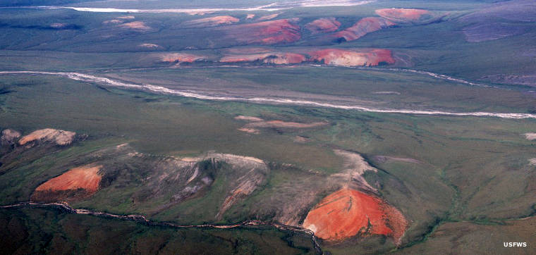 Red hills just south of the Arctic Ocean