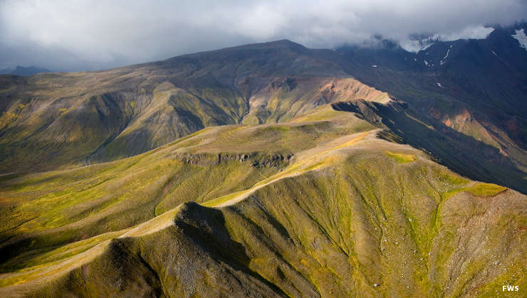 Aerial view in the mountains of Izembek National Wildlife Refuge