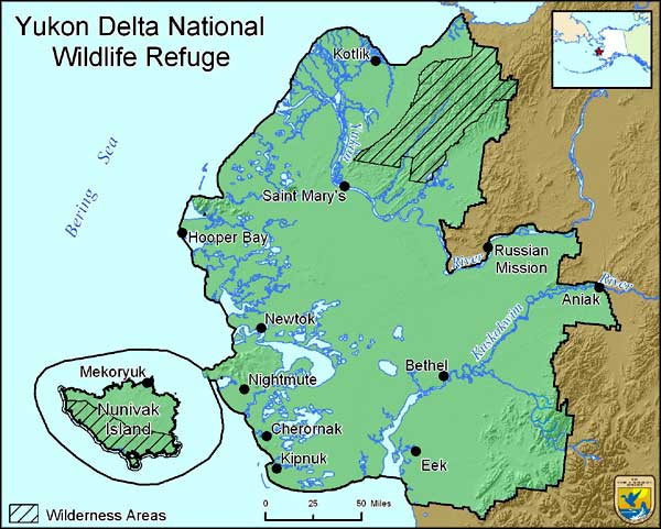 Map of Yukon Delta National Wildlife Refuge