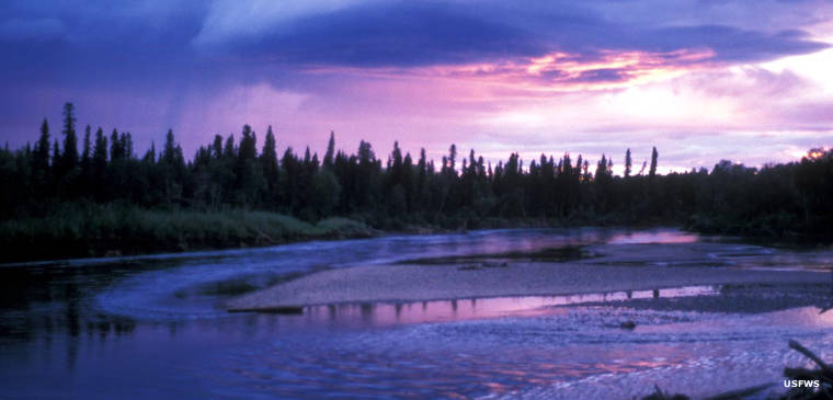 Sunset on the Aniak River, Yukon Delta National Wildlife Refuge, Alaska
