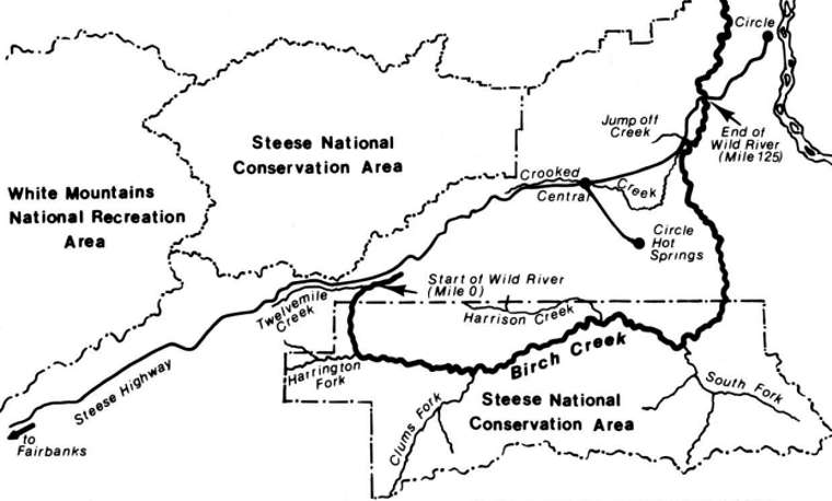 Map of the Birch Creek Wild and Scenic River area