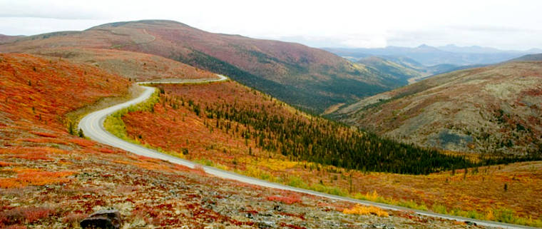 A fall view along Top of the World Highway