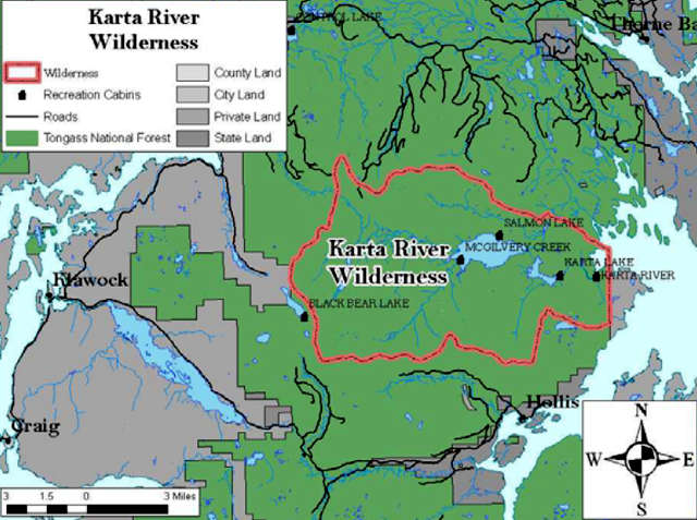 Map of the Karta River wilderness area