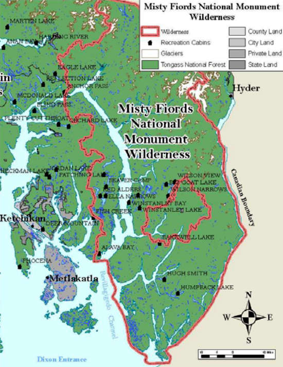 Map of Misty Fjords National Monument
