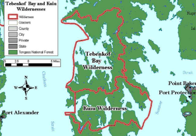 Map of the Kuiu and Tebenkof Bay Wilderness areas