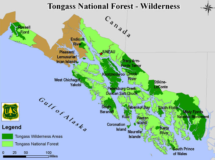 Tongass National Forest location map