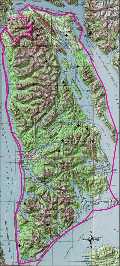 Map of Kootznoowoo Wilderness