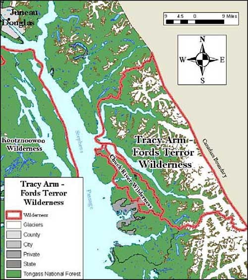 Map of Tracy Arm-Fords Terror Wilderness
