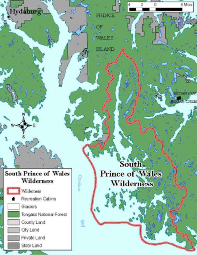 Map of the South Prince of Wales Wilderness area