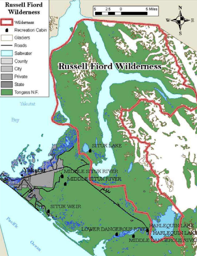 Map of the Russell Fjord Wilderness area
