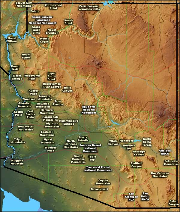 Locations of Bureau of Land Management sites in Arizona
