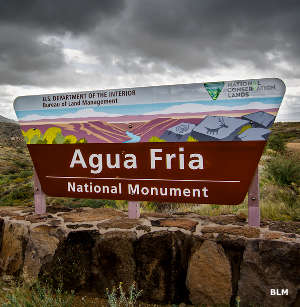Sign marking the entrance to Agua Fria National Monument