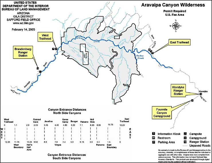 Map of Aravaipa Canyon Wilderness