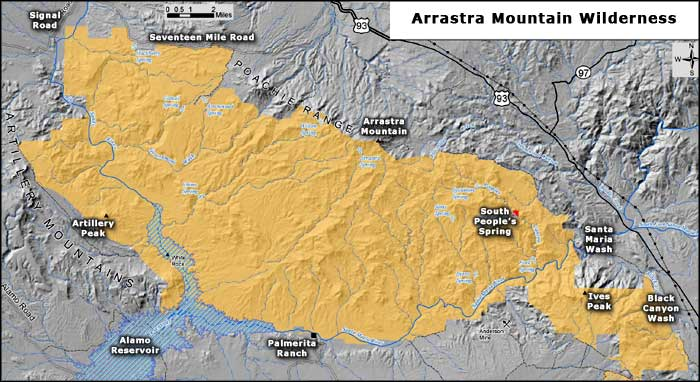 Map of Arrastra Mountain Wilderness