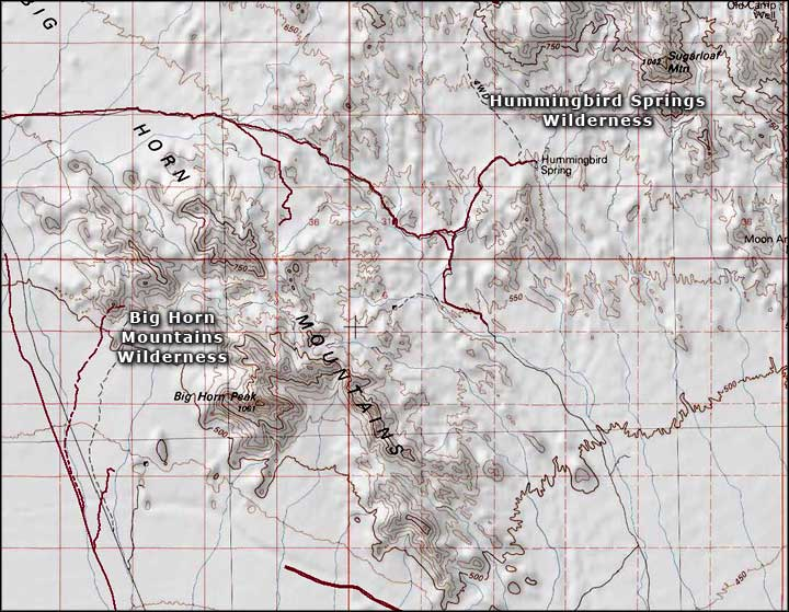 Big Horn Mountains Wilderness map