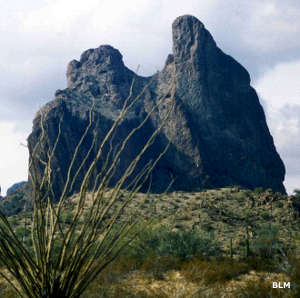 Courthouse Rock at the northern edge of the Eagletail Mountains Wilderness