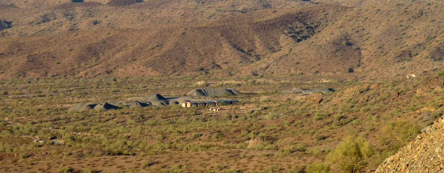 Swansea, a ghost mine camp beyond the northeastern corner of the East Cactus Plain Wilderness