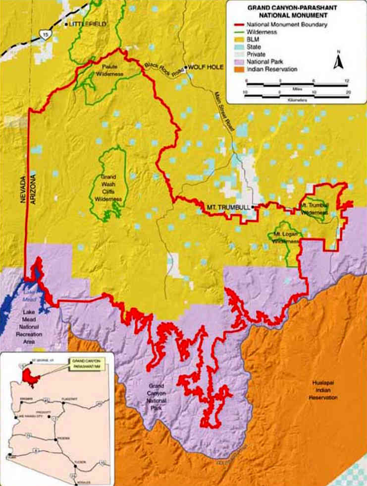 Map of Grand Canyon-Parashant National Monument