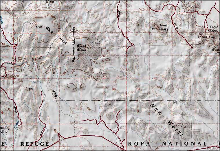 New Water Mountains Wilderness map