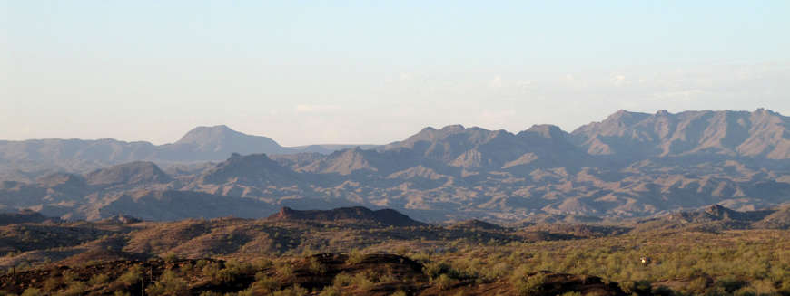 A distant view of the Rawhide Mountains