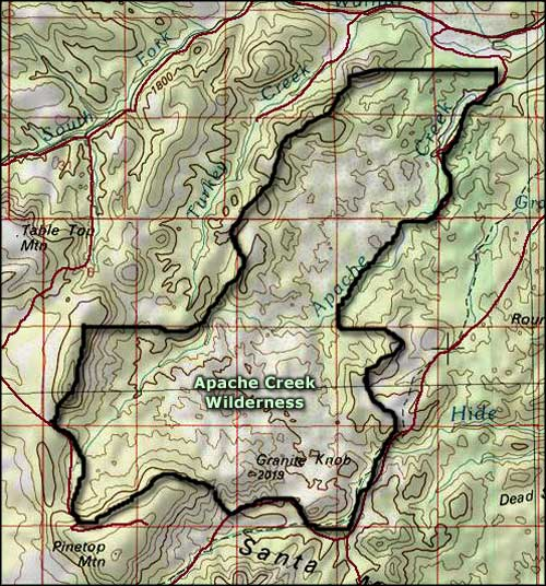Apache Creek Wilderness map