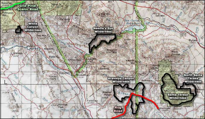 Aravaipa Canyon Wilderness area map