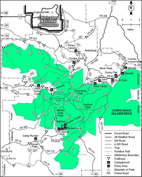 Chiricahua Wilderness trail map