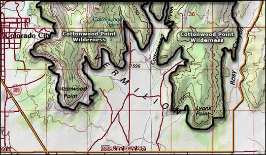 Cottonwood Point Wilderness map