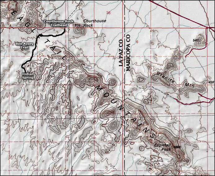 Map of the Eagletail Mountains Wilderness area