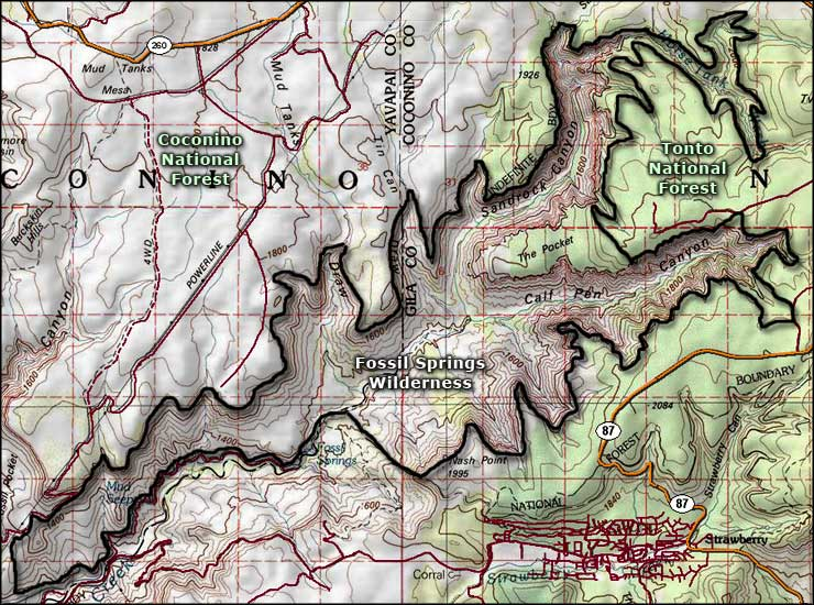 Map of Fossil Springs Wilderness